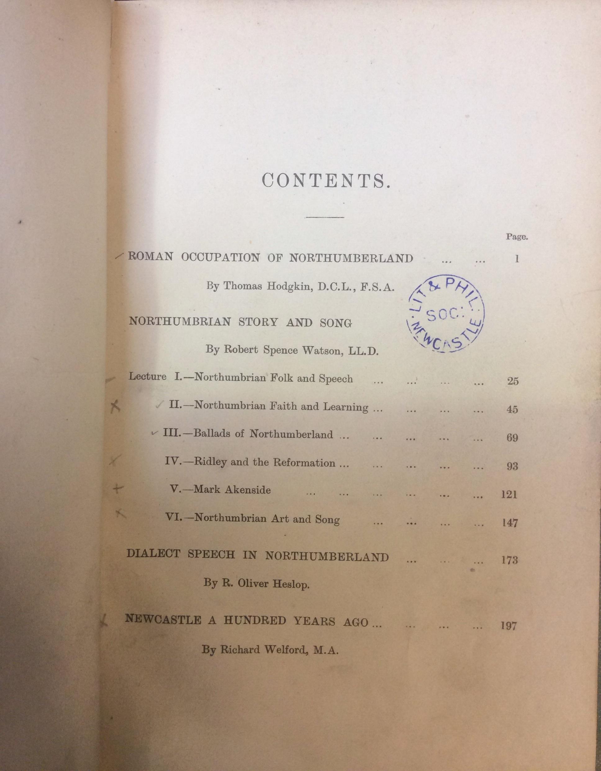 Nortumbrian Hist...contents