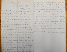 Letter from Robert to Mabel about the death of the pet squirrel
