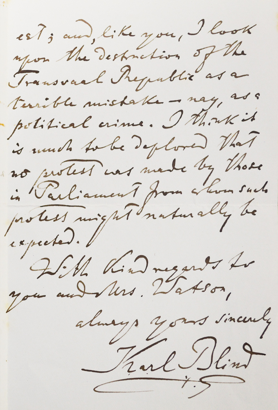 letter from German revolutionist and writer Karl Blind to Robert