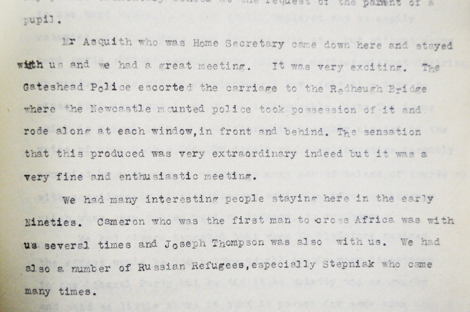 Recollections of Robert Spence Watson describing visitors to Bensham Grove